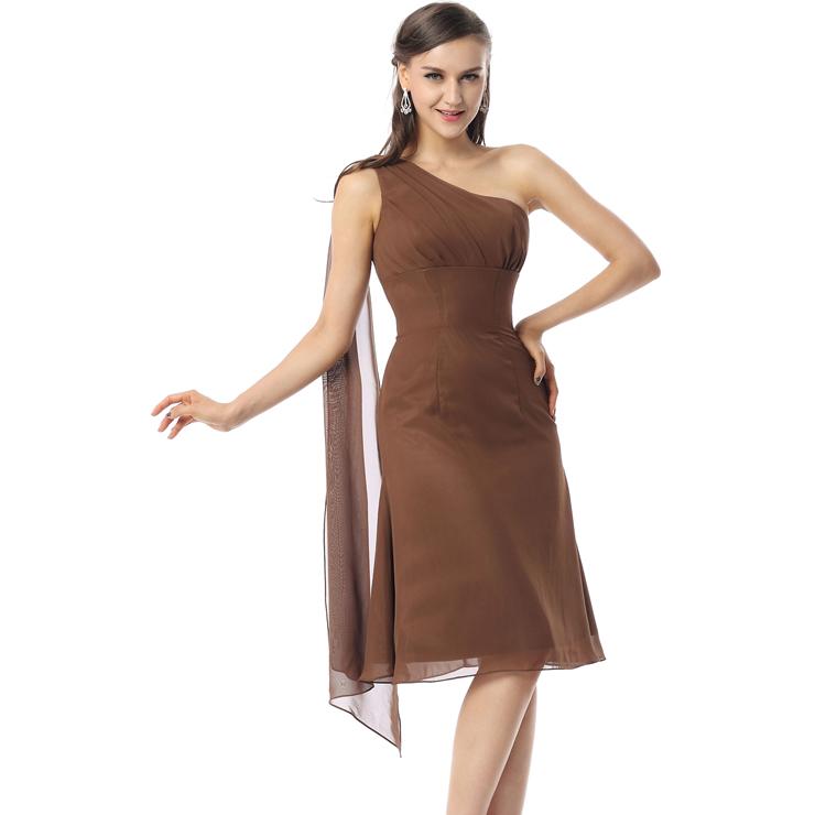 f1d29353b340 2018 Fashion Elegant Coffee A-line One-shoulder Empire Draped Chiffon Knee- Length Prom Dresses F30046