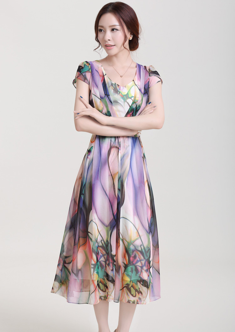 Elegant Floral Print Short Sleeve Long Dress N9072