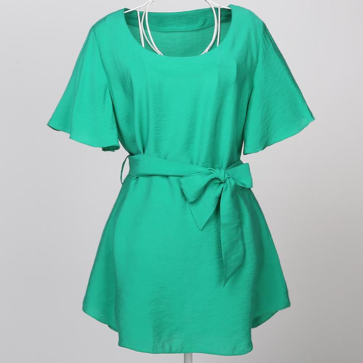 Elegant Green Short Sleeve Belted Tunic N11853