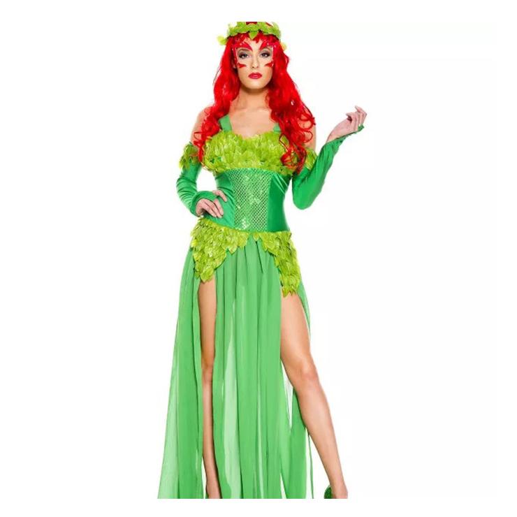 3Pcs Elegant Green Jungle Girl Low-cut High Waist Dress Halloween Cosplay Costume N19547