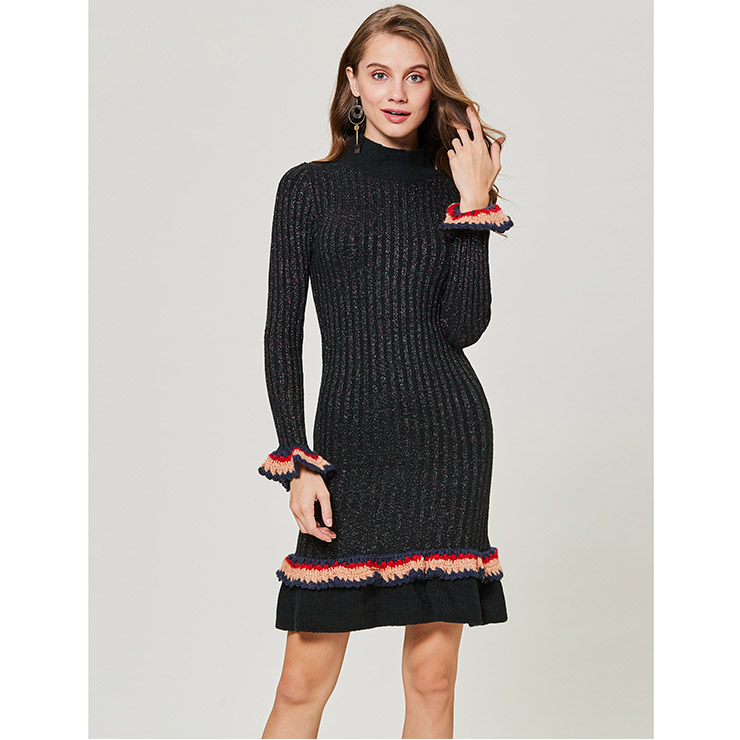 Women's Elegant Long Sleeve High Neck Falbala Pullover Bodycon Sweater Dress N15356
