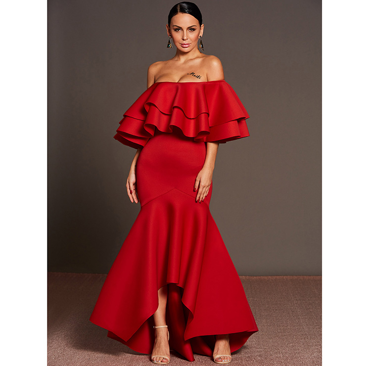 Women's Elegant Off Shoulder Asymmetrical Fishtail Maxi Dress N15290