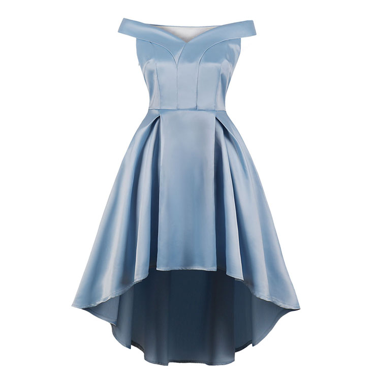 Elegant Light-blue Off-shoulder Pleated Bodice High Waist High Low Party Dress N18698