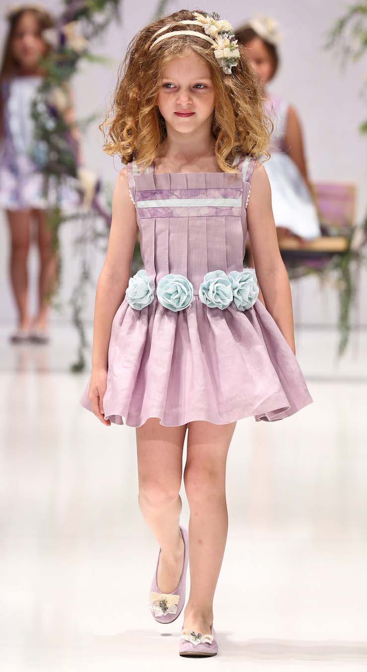 Elegant Pastel Violet Flower Decorate Waist Princess Dress