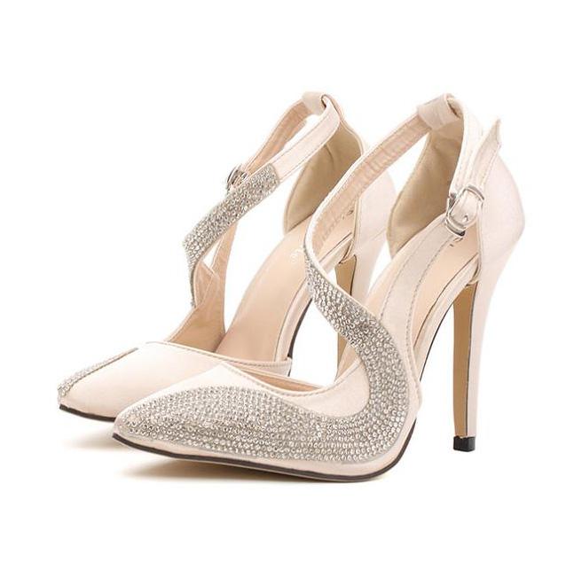 elegant rhinestone wedding high heels sws20134. Black Bedroom Furniture Sets. Home Design Ideas