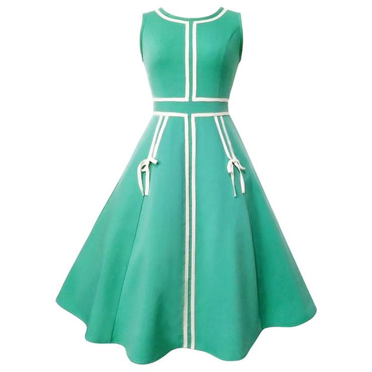 Women's Vintage Round Neck Sleeveless Swing Midi Dresses N14397
