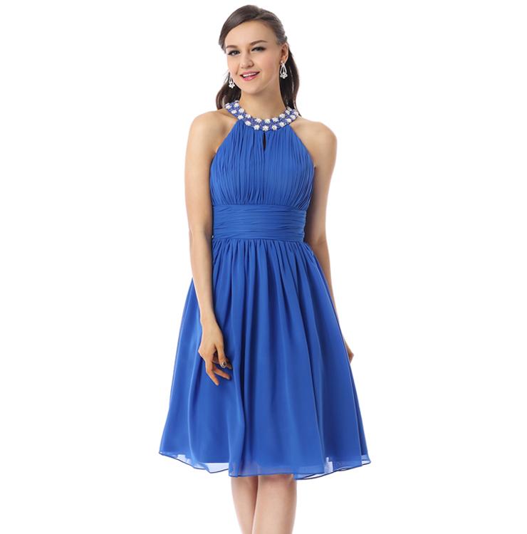 Cheap Blue Knee Length Dress