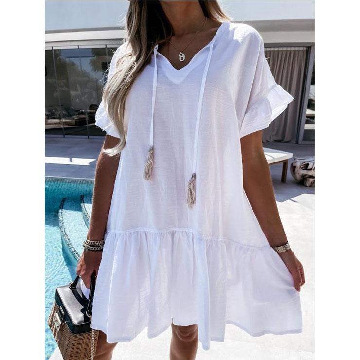 Elegant White Short Sleeve V Neck Ruched Ruffled Summer Day Mini Dress N21029