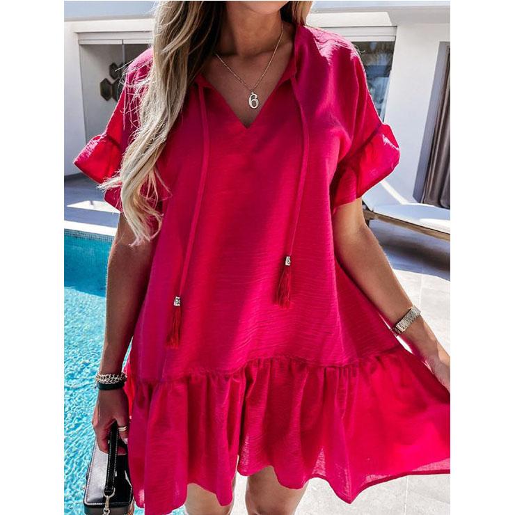 Elegant Red Short Sleeve V Neck Ruched Ruffled Summer Day Mini Dress N21030