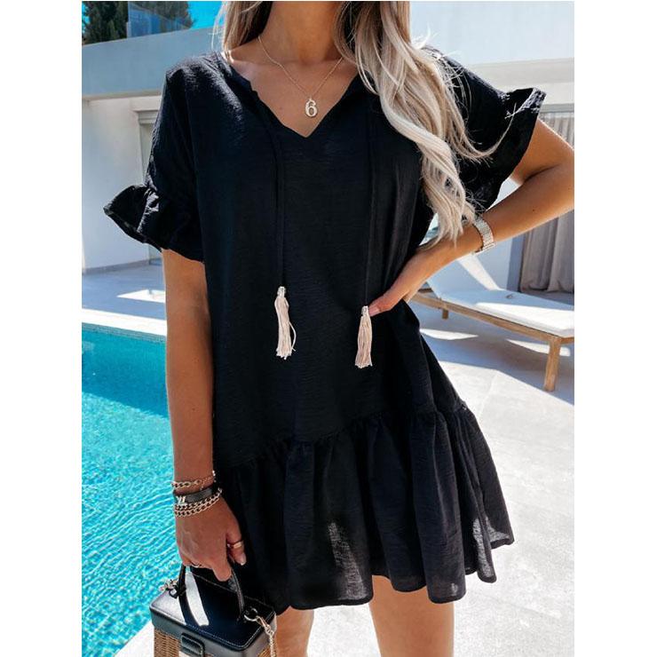Elegant Black Short Sleeve V Neck Ruched Ruffled Summer Day Mini Dress N21031