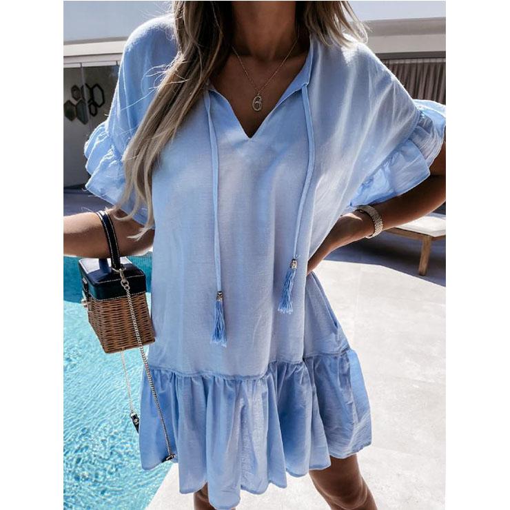 Elegant Azure Short Sleeve V Neck Ruched Ruffled Summer Day Mini Dress N21032