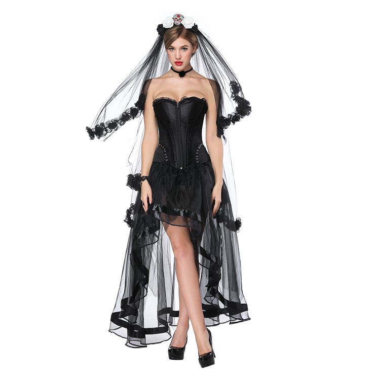 Victorian Gothic Black Satin Overbust Corset with High Low Skirt Set N18207