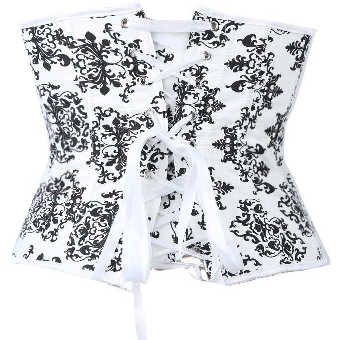 Satin Underbust Corset, Underbust Floral Printed Corset, Black and White Waist Training Underbust Corset, #N8656
