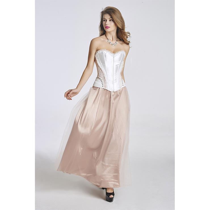Elegant Satin Pink-white Corset and Tulle Skirt Set N11348