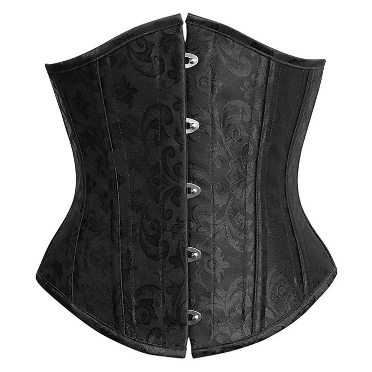 Elegant Black Satin Steel Bone Jacquard Weave Underbust Corset N9725