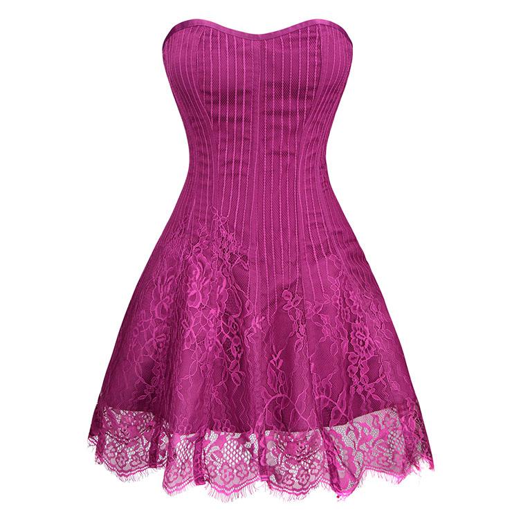 Gothic Elegant Sexy Rose-red Strapless Stripe Lace Plastic Bone Corset Mini Dress N20257