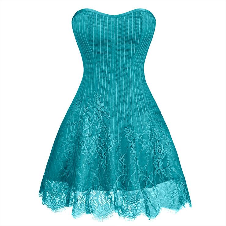 Gothic Elegant Sexy Dark-green Strapless Stripe Lace Plastic Bone Corset Mini Dress N20258