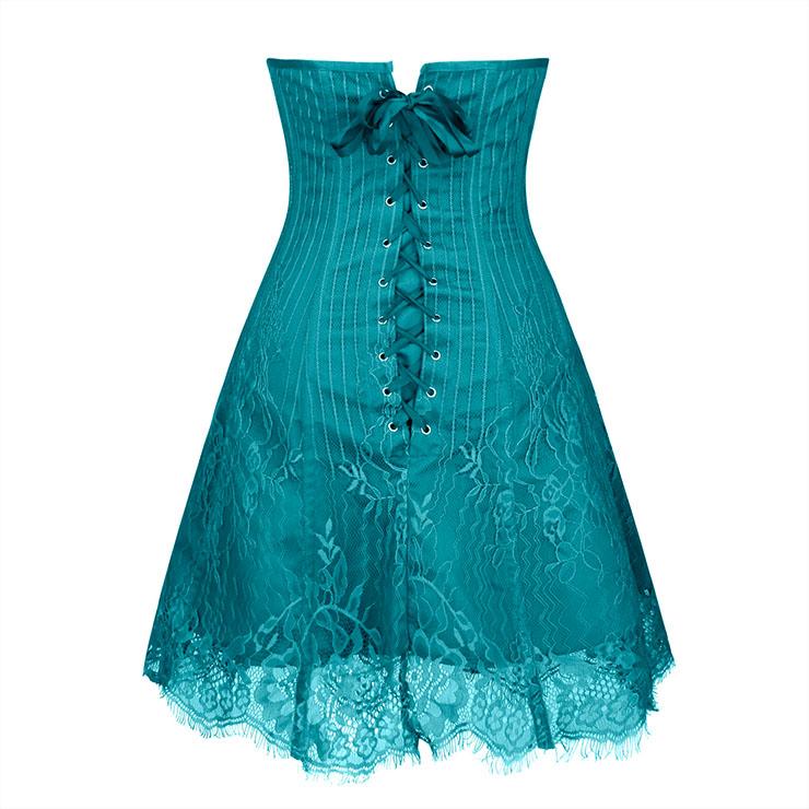 Gothic Stripe Corset Dress,Lace Corset Dress,Steampunk Short Lace Corset Dress,Plastic Bone Corset Mini Dress,Elegant Lace Stripe Corset Dress for Women,Sexy Mini Dress, #N20258