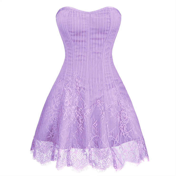 Gothic Elegant Sexy Light-purple Strapless Stripe Lace Plastic Bone Corset Mini Dress N20260