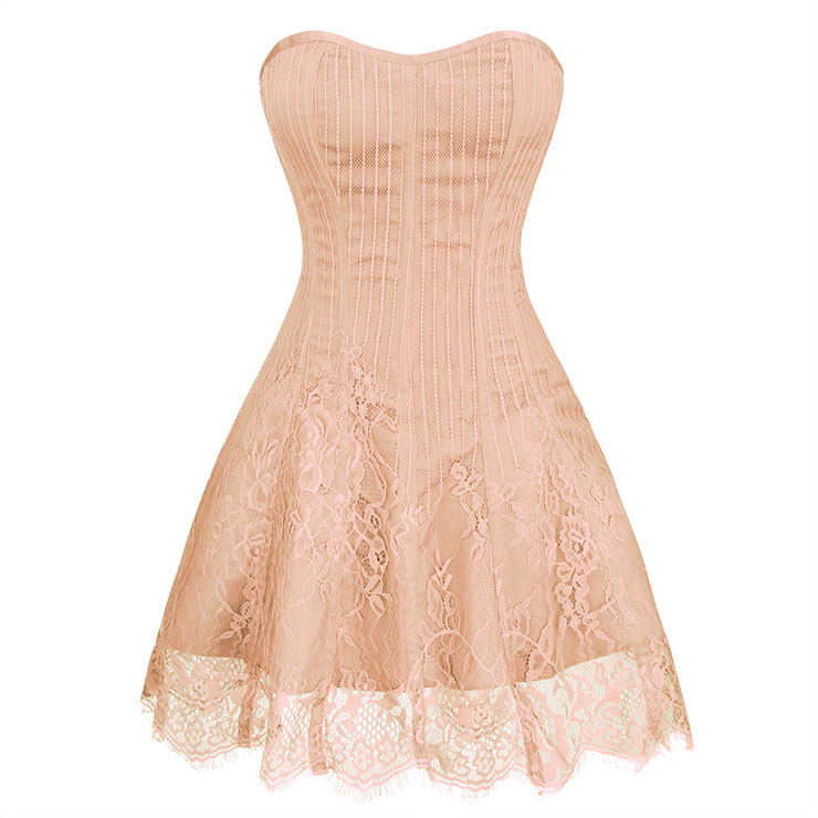 Gothic Elegant Sexy Flesh-pink Strapless Stripe Lace Plastic Bone Corset Mini Dress N20261