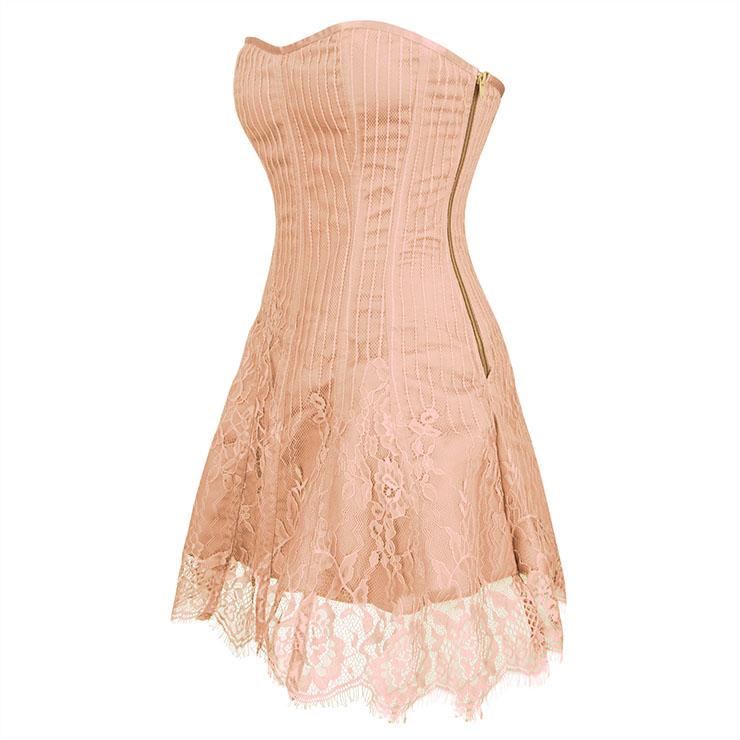 Gothic Stripe Corset Dress,Lace Corset Dress,Steampunk Short Lace Corset Dress,Plastic Bone Corset Mini Dress,Elegant Lace Stripe Corset Dress for Women,Sexy Mini Dress, #N20261