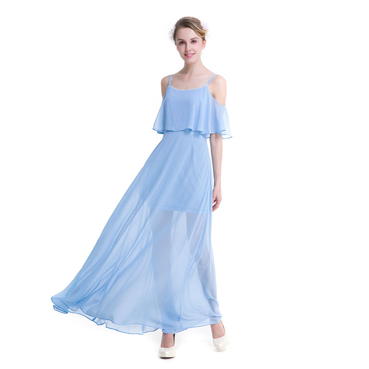 Elegant Light Blue Chiffon Ruffle Off-shoulder Sheer Mesh High Waist Ankle Length Dress N18760