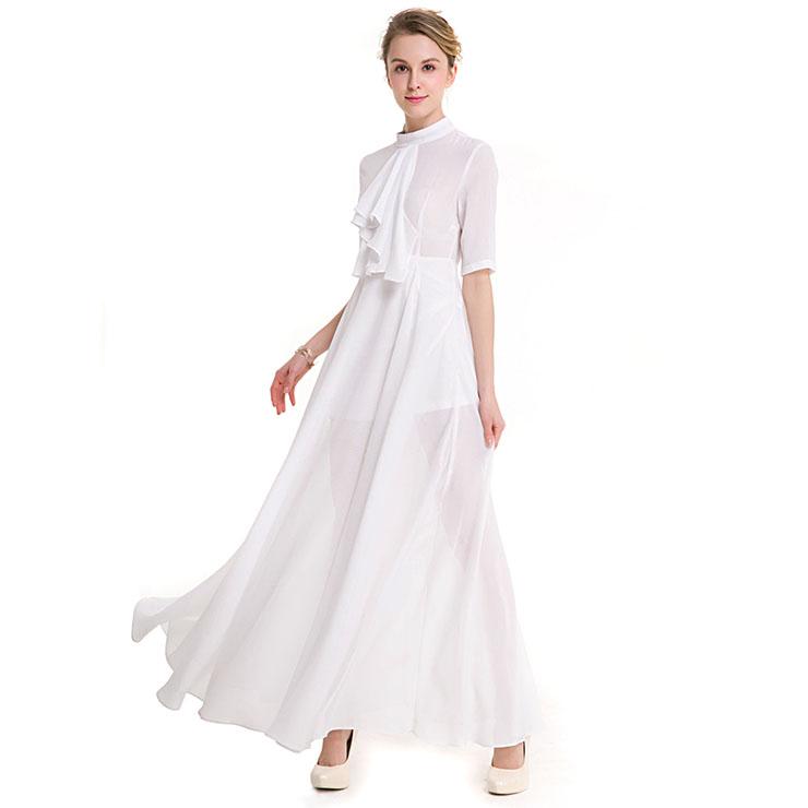 Elegant White Chiffon Ruffle Turtleneck Half Sleeve Sheer Mesh High Waist Ankle Length Dress N18761