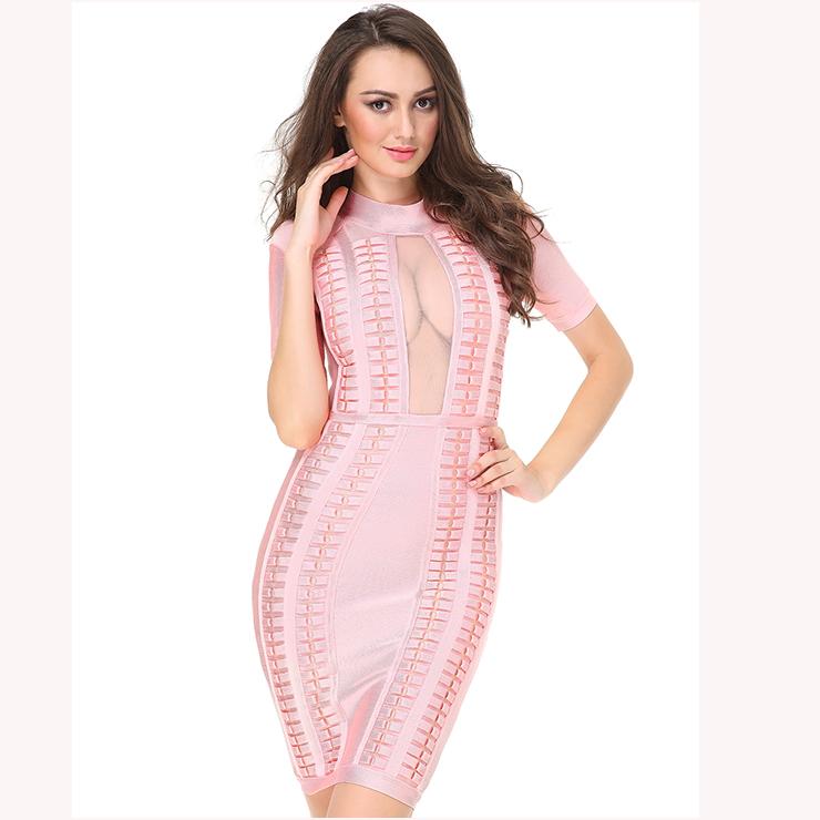 Women\'s Elegant Short Sleeve High Neck Mesh Panel Bodycon Bandage ...