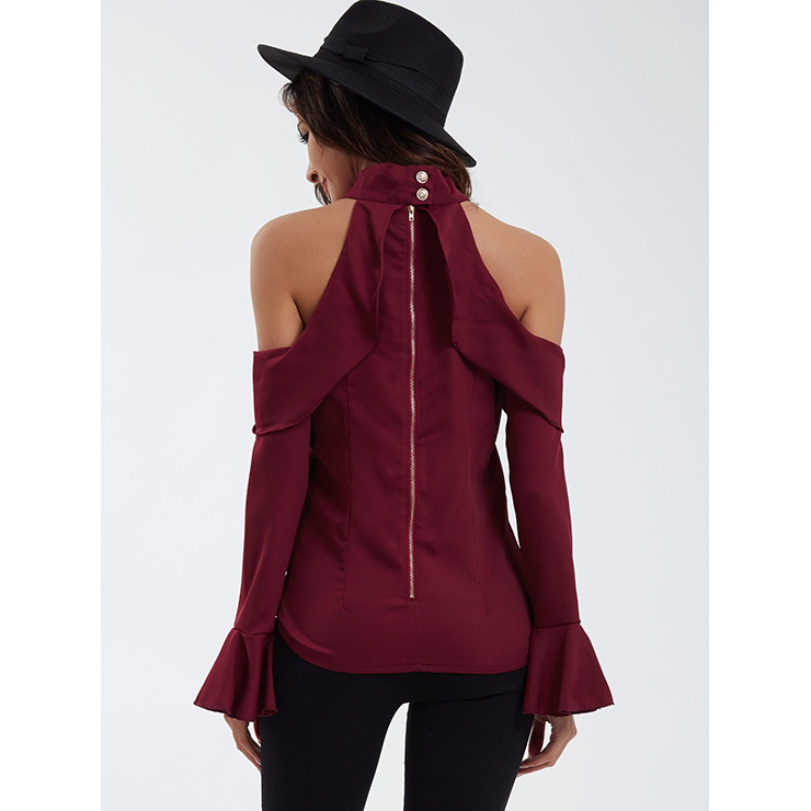 Off Shoulder Wine Red Shirt, Slim Polyester Shirt, Off Shoulder Blouse, Sexy Crop Top, Turtle Neck Blouse Top, Sexy Blouse for Women, #N14545