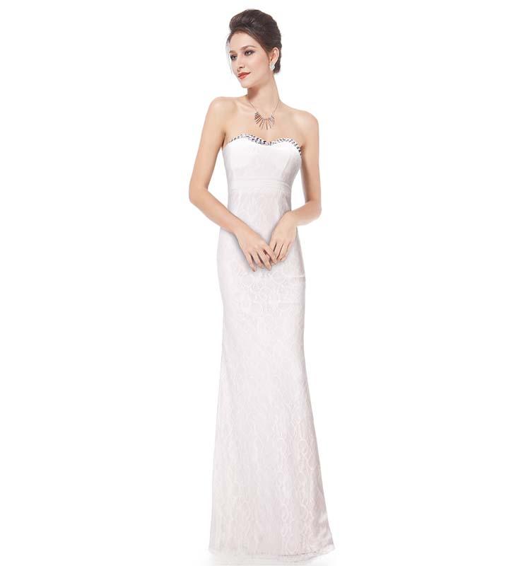 Elegant White Lace Sweetheart Rhinestone Long Formal Evening Gown N11128