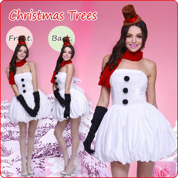 elegant white mini dress christmas costume xt9732 - White Christmas Costumes