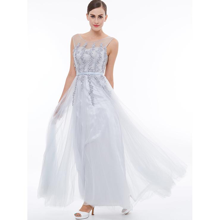 Women's Elegant White Round Neck Sleeveless Tulle ...