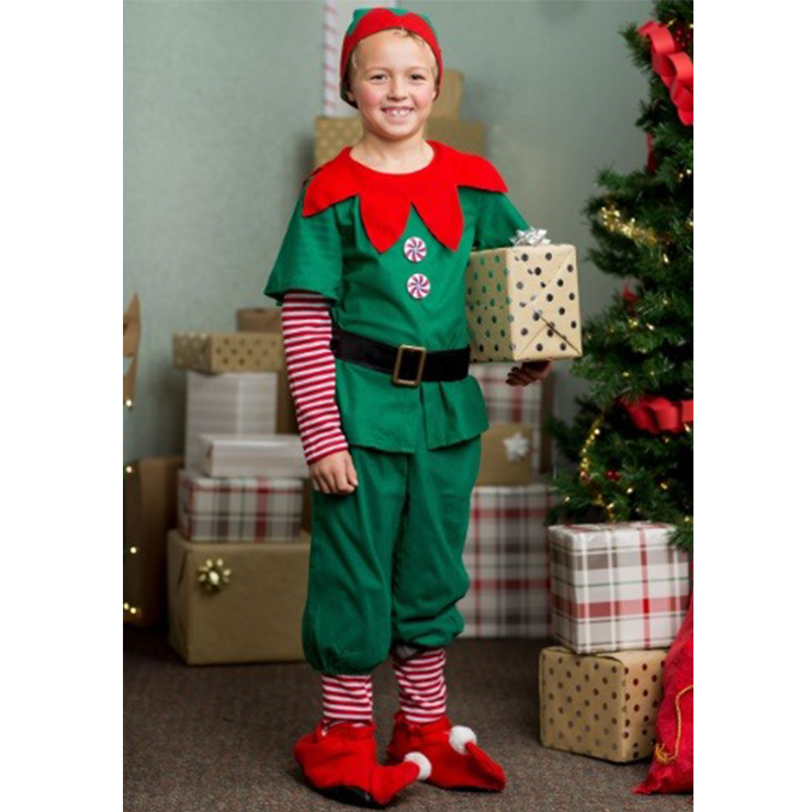 5pcs Boy's Elf Shirt and Cropped Pants Family Look Party Christmas Costume XT20048