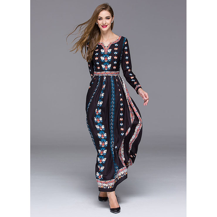 Graceful Mexican Bohemian Ethinic Vintage Long Sleeve Maxi Dresses