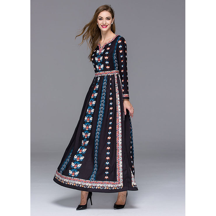 Graceful Mexican Bohemian Ethinic Vintage Long Sleeve Maxi Dresses ...