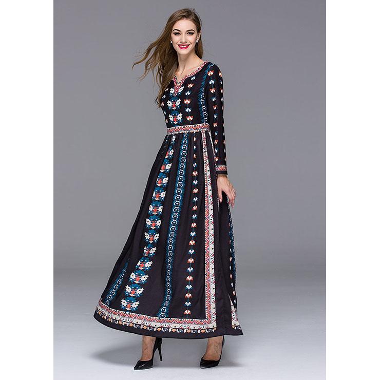 Graceful Mexican Bohemian Ethinic Vintage Long Sleeve Maxi Dresses ...