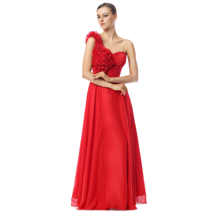 2018 Exclusive Red A Line One Shoulder Nipped Waist Flowers Floor