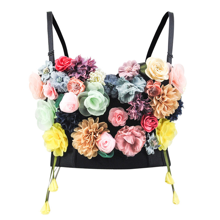 Sweet Fancy 3D Simulation Flower Padded Underwire Bustier Bra Clubwear Crop Top N18725