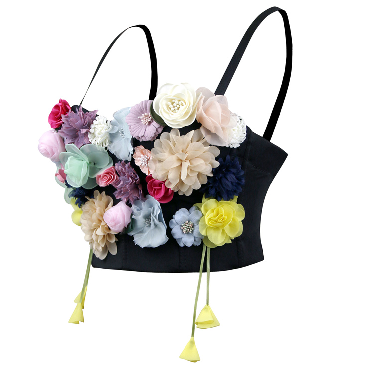 Colorful 3D Flower Bra Top, B Cup Bustier Bra, B Cup Floral Bustier Bra for Women, Sexy Simulation Flower Clubwear Bra, #N18725
