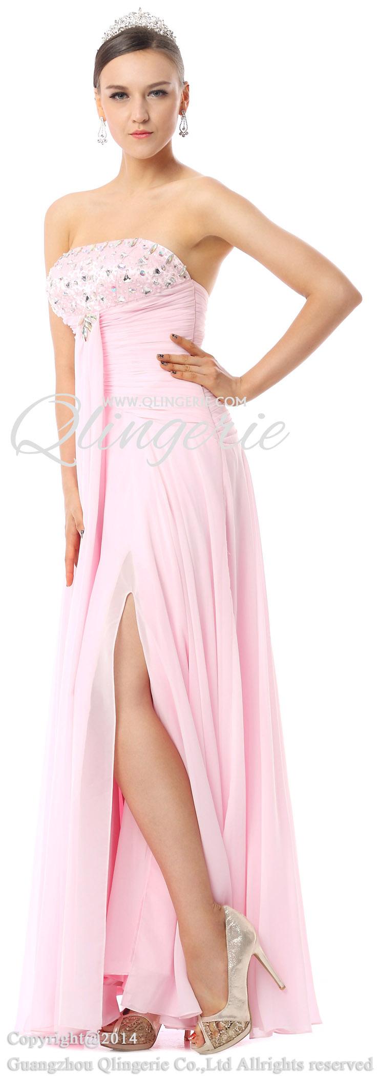 2018 fancy pink sheath strapless splitfront crystal floor