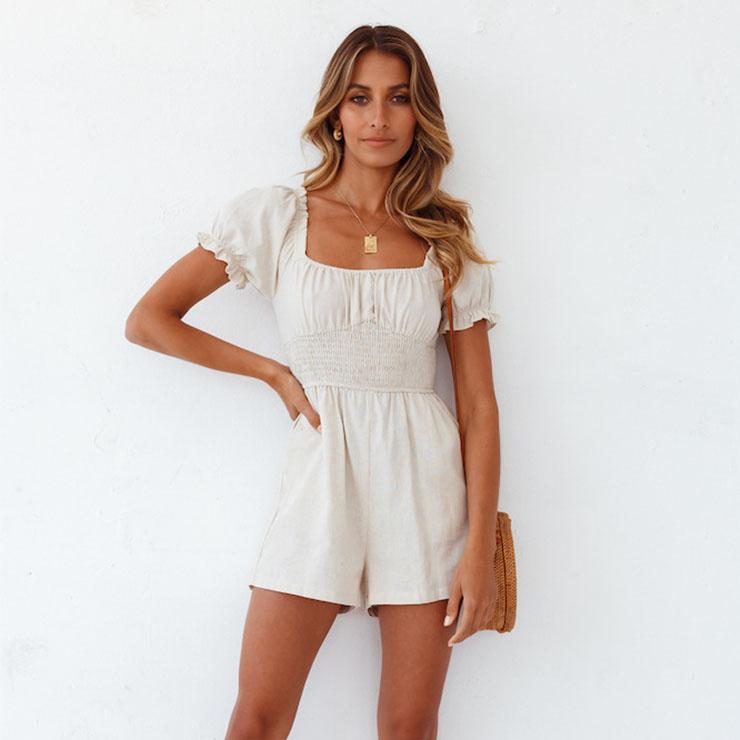 Fashion White Square Collar Short Sleeve Ruffle Slim Waisted Short Jumpsuit N21095