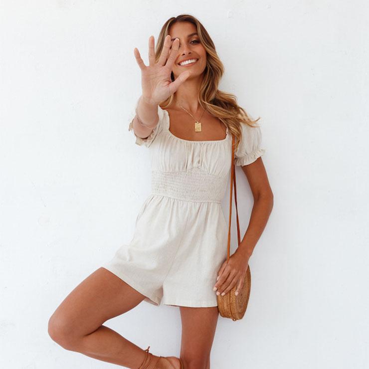Short Jumpsuit,Fashion White Jumpsuits for Women,Fashion Beach Jumpsuit, Short Sleeve Jumpsuit,Square Collar Jumpsuit, Casual Short Sleeve Ruffle Bodysuit, Slim Waisted Short Jumpsuit, #N21095