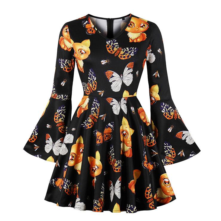 Fashion V Neck Black Dress Flare Sleeve Halloween Print High Waist Dress N17977
