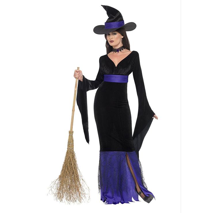 Fashion Black-purple Witch Deep-V Maxi Dress Adult Halloween Cosplay Costume N18175
