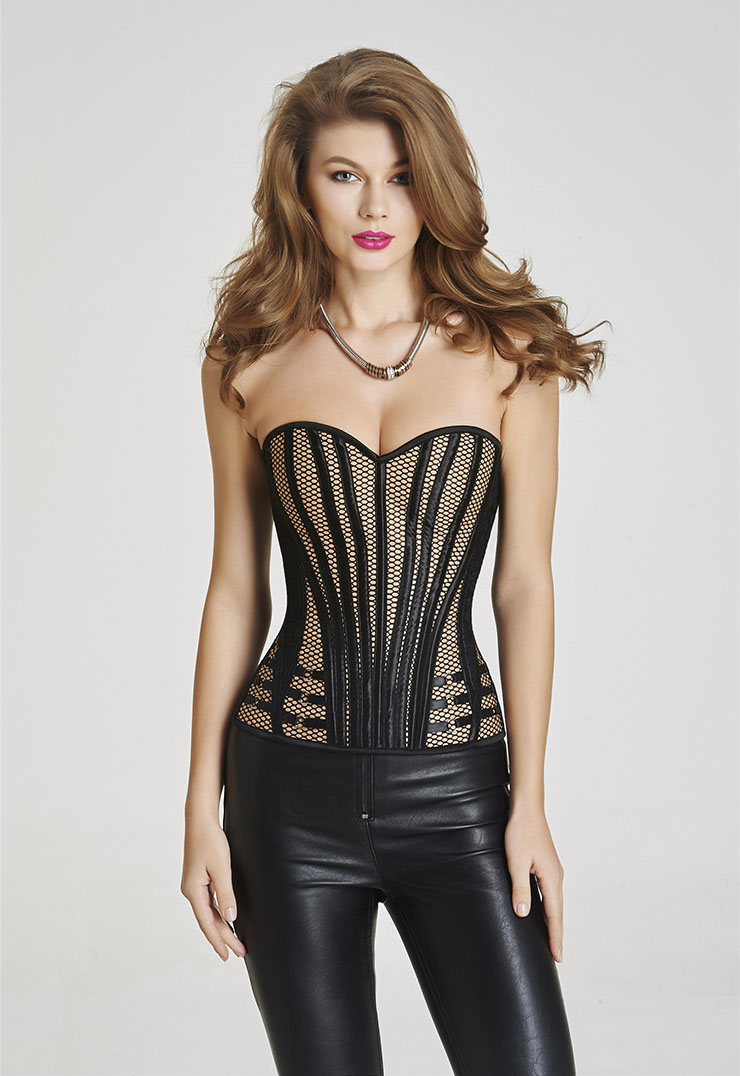 Fashion Black and Brown Fishnet Overbust Corset with Belt ...