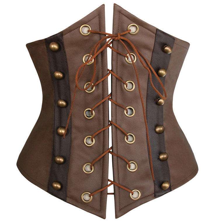 Fashion Brown Leather Lace-Up Underbust Corset N10018