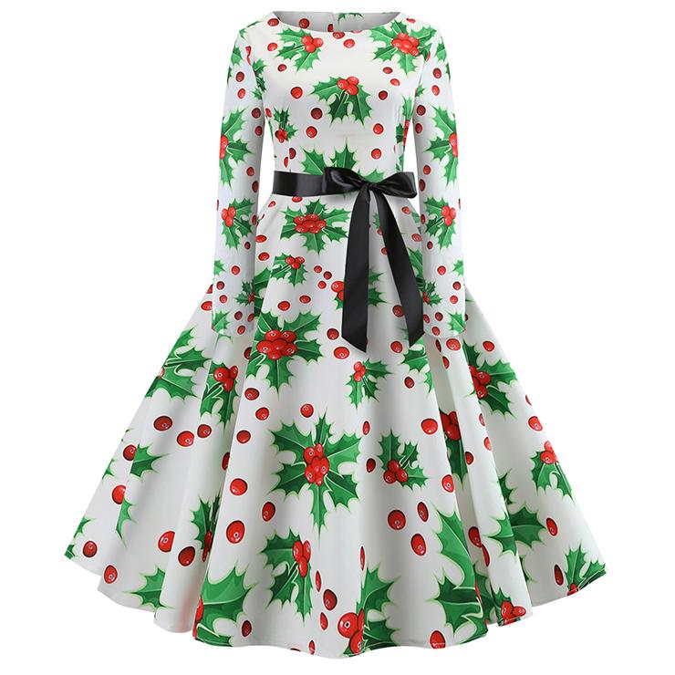 Fashion Christmas Holly Pattern Long Sleeves Round Neckline High Waist Christmas Midi Dress N18571