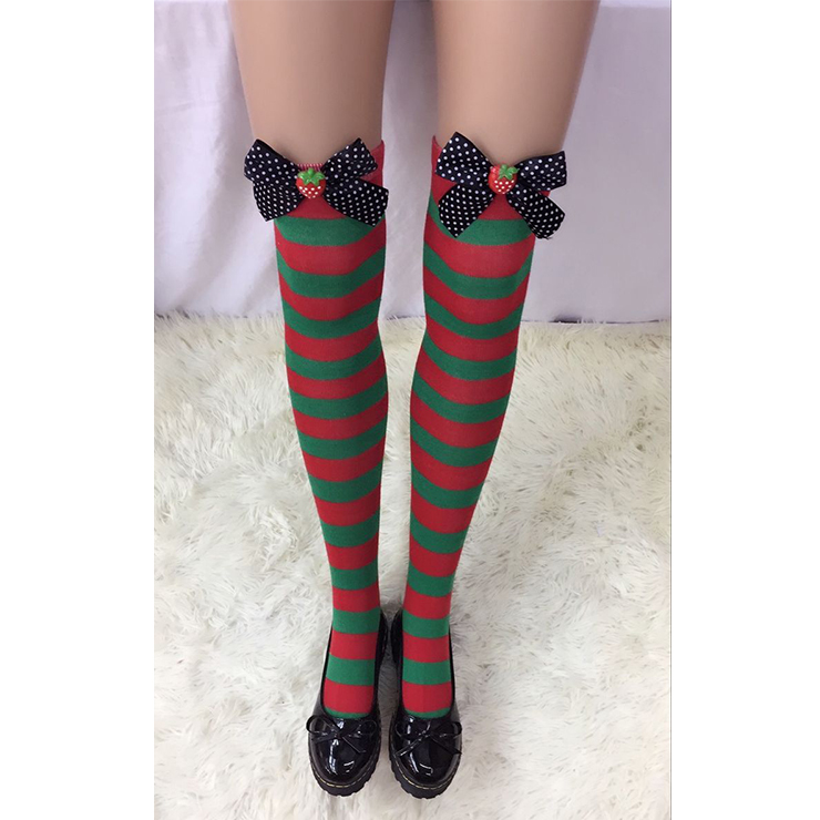 Fashion Christmas Red and Green Stripes with Black Bowknot and Strawberry Maid Cosplay Stockings HG18528