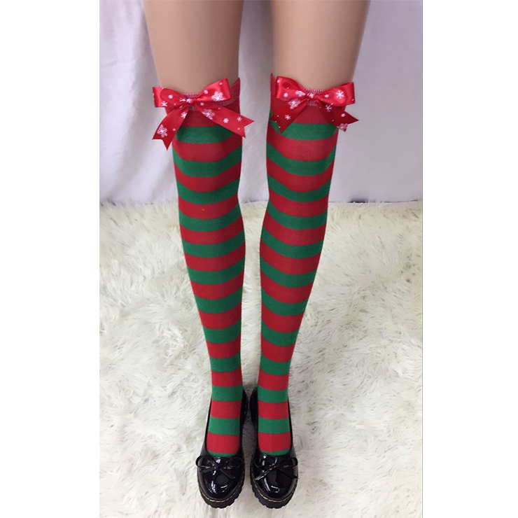 Fashion Christmas Red and Green Stripes with Red Bowknot Maid Cosplay Stockings HG18530