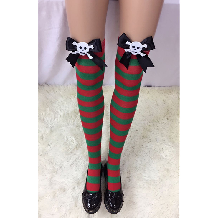 Fashion Red and Green Stripes Stockings with Black Bowknot and Skull Maid Cosplay Stockings HG18532